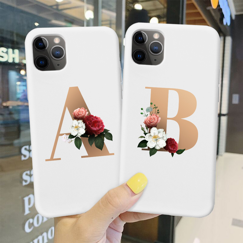 Custom Letter A B C D Candy White Matte Soft TPU Case For Iphone 11 Pro MAX SE 5 6 6S 7 8Plus MAX XR XS X Luxury Floral Cover