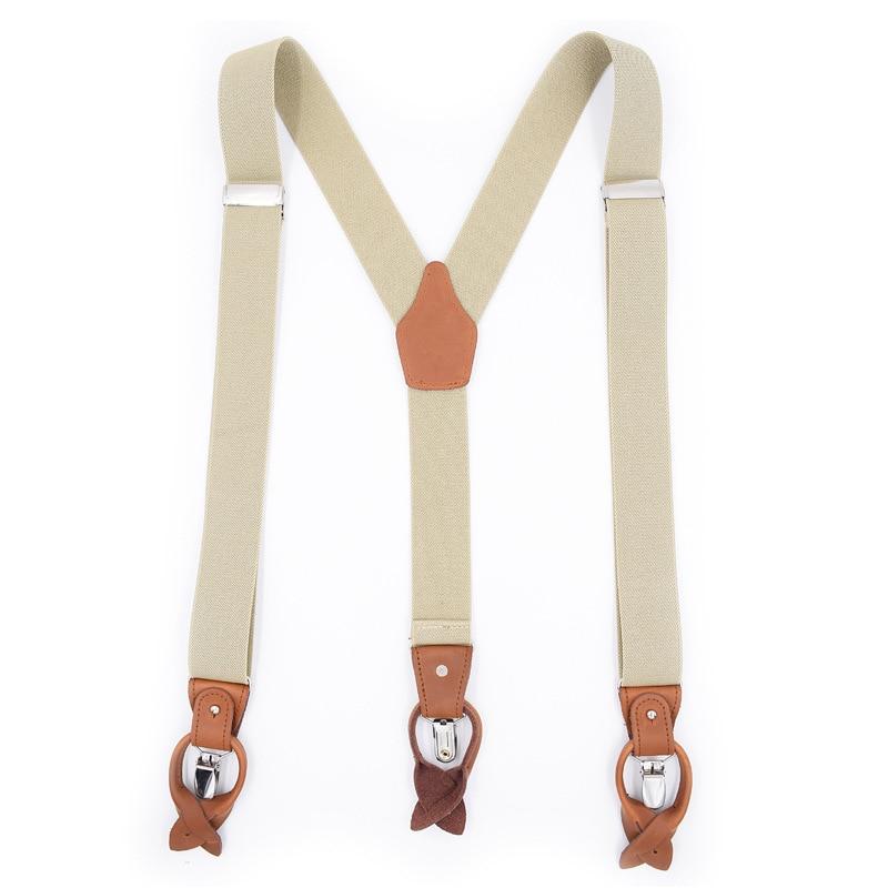 Cross Border Supply Of Goods Adult Dual Purpose Men Solid Color Suspender Strap Genuine Leather Adjustable Elastic Suspenders Br