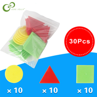 30Pcs Arithmetic Baby Math Circular Square Toys Math Geometry Plastic Chip Montessori Learning Educational Toy for Kids GYH