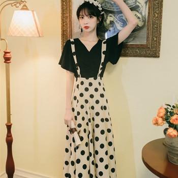 цена на Spring and Summer New Black, Short Sleeve + Polka Dot Suspender Dress Two-Piece Dress Trip Shoot Holiday Slim Dress