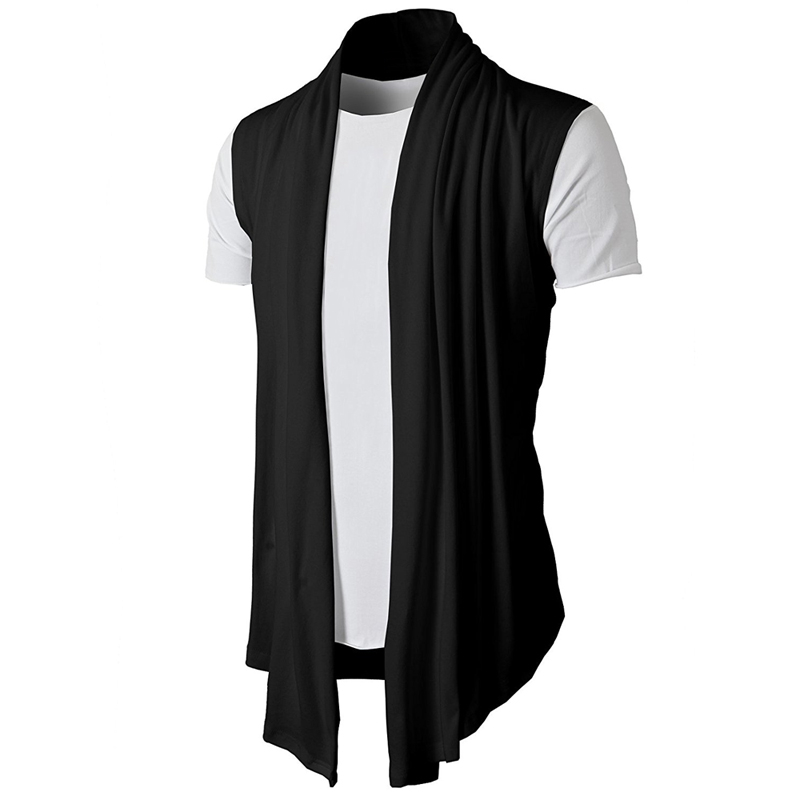 2020 Spring Summer New Personality Joker Solid Color Sleeveless Casual Men's Cardigan Fine Cardigan Cardigan Hip Hop Vest