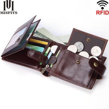 Super wallet men trifold genuine leather short wallet for men top quality male purse zipper card holder coin men's wallet RFID 1