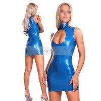 Summer dress Blue Sexy latex dress fetish rubber vestidos standard dresses XXXL plus size hot sale customize service NBLD074