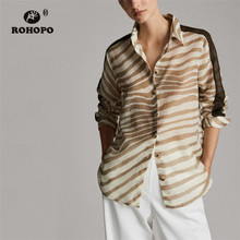 ROHOPO Side Striped Patchwork Zebra Pattern Long Sleeve Blouse High Low Length Ladies Autumn Elegant Casual Top Shirt #8994