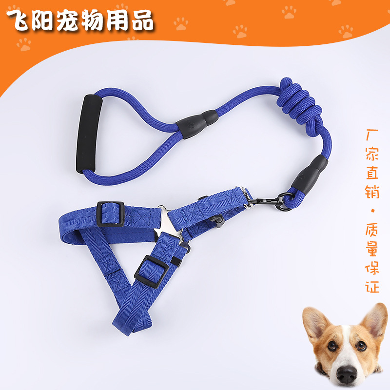 Ningbo Nylon Handle Round Rope Pet Thoracodorsal Case Traction Dog Chain Dog Case Outdoor Hand Holding Rope