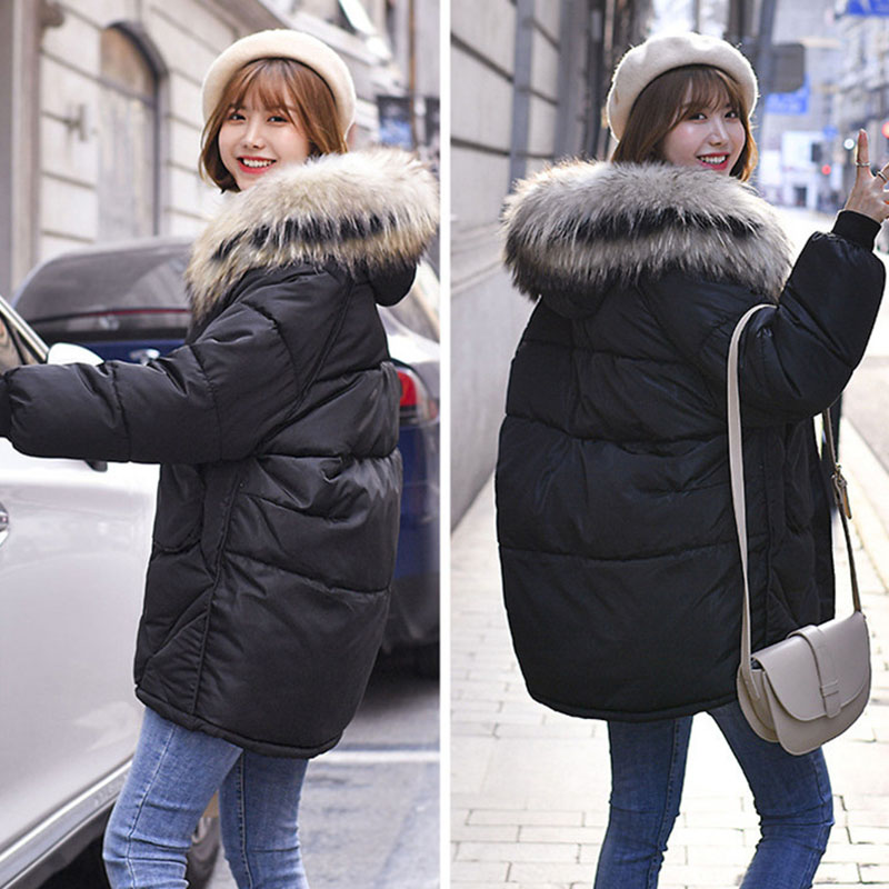 Winter Jacket Women 2019 Plus Size Womens Parkas Loose Thicken Outerwear Solid Color Fur Hooded Coats Female Cotton Padded Tops