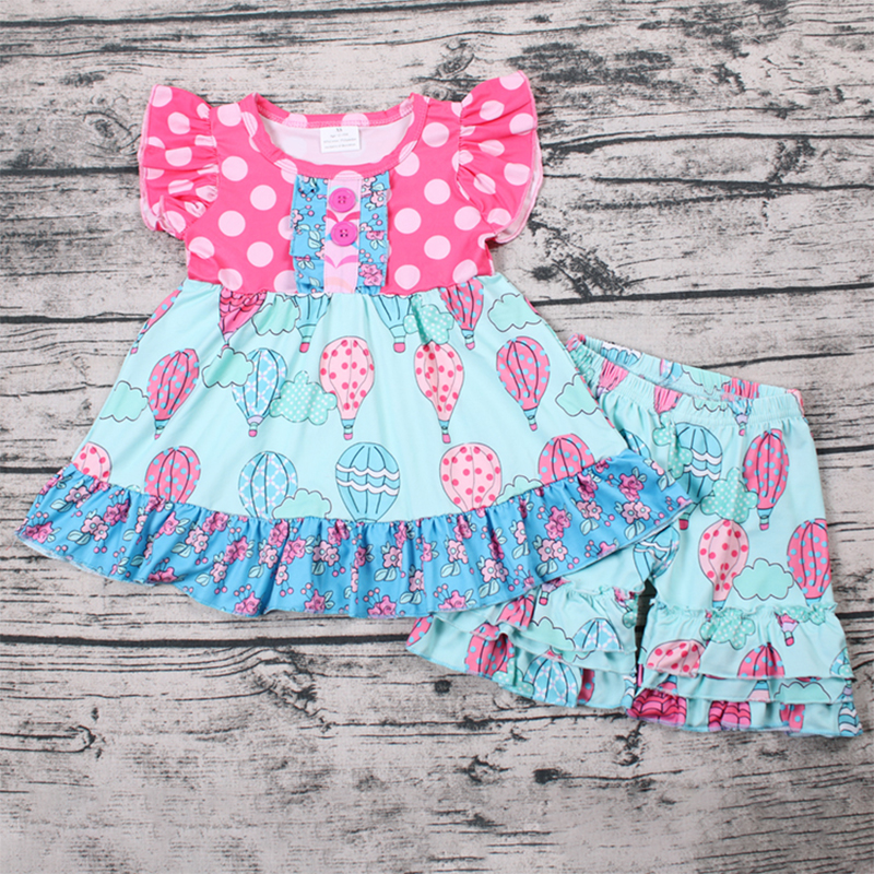 Best Selling Children Clothes Wholesale Kids Clothing Cartoon Printing Sets For Girl New Design Cotton Cute 2PCS Sets image