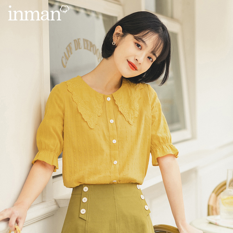 INMAN 2020 Summer New Arriavl Short Sleeve Doll Collar Literary Embroidered Sweet Blouse