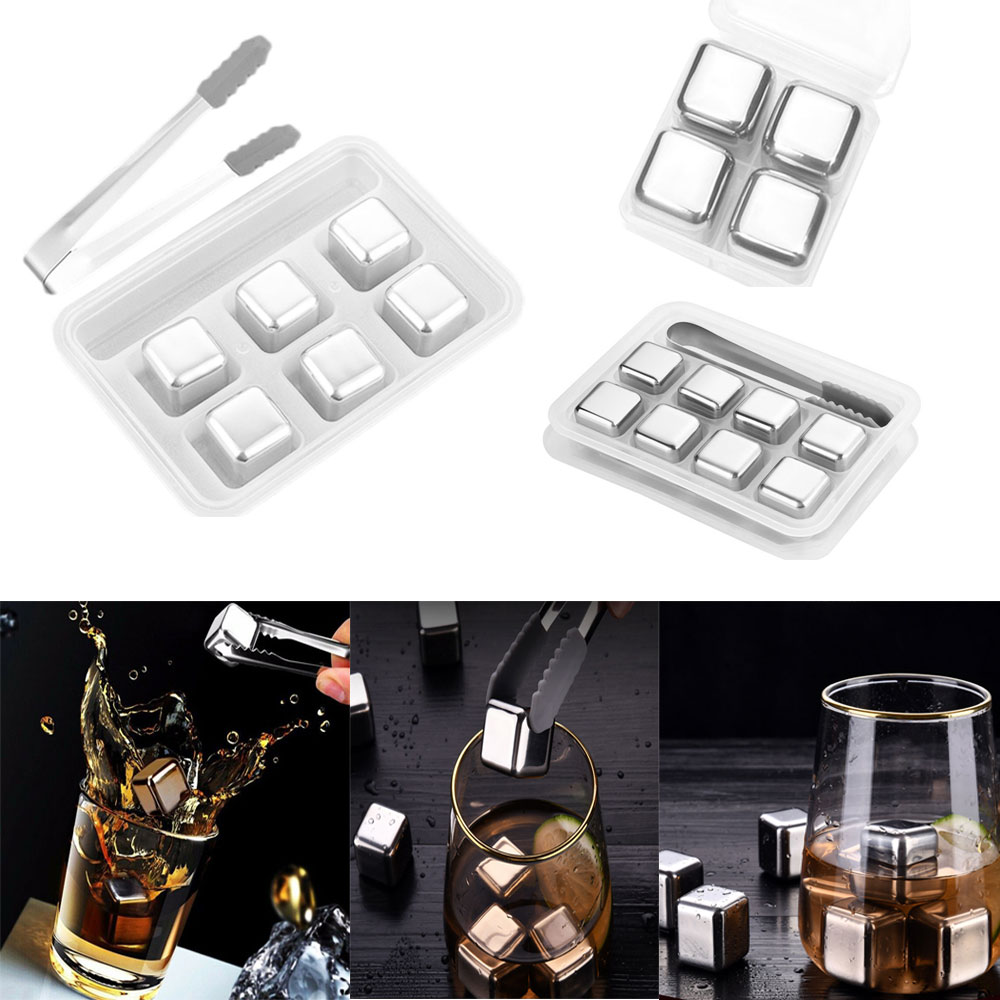 Stainless Steel Whiskey Ice Cube Reusable Chilling Stones Wine Beer Cooler Keep Your Drink Cold Longer Bar Kitchen KTV Supplies(China)