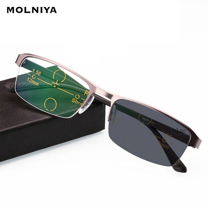 Double Light Change Color Reading Glasses Multi-focal Progressive Eyeglasses Men Metal Half Frame Spectacles