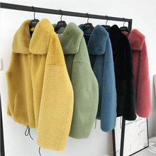 Moda marka kabarık büyük yaka taklit kürk ceket kadın kalın sıcak tilki kürk yelek fermuar dikiş kat İpli