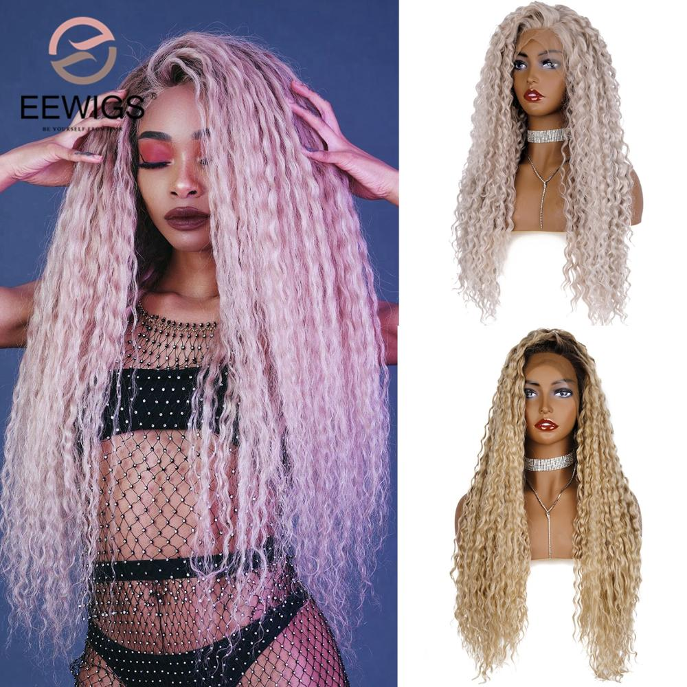 EEWIGS Curly Short-Roots Wig Ombre Blonde Afro Glueless-Platinum Lace-Front Heat-Resistant title=