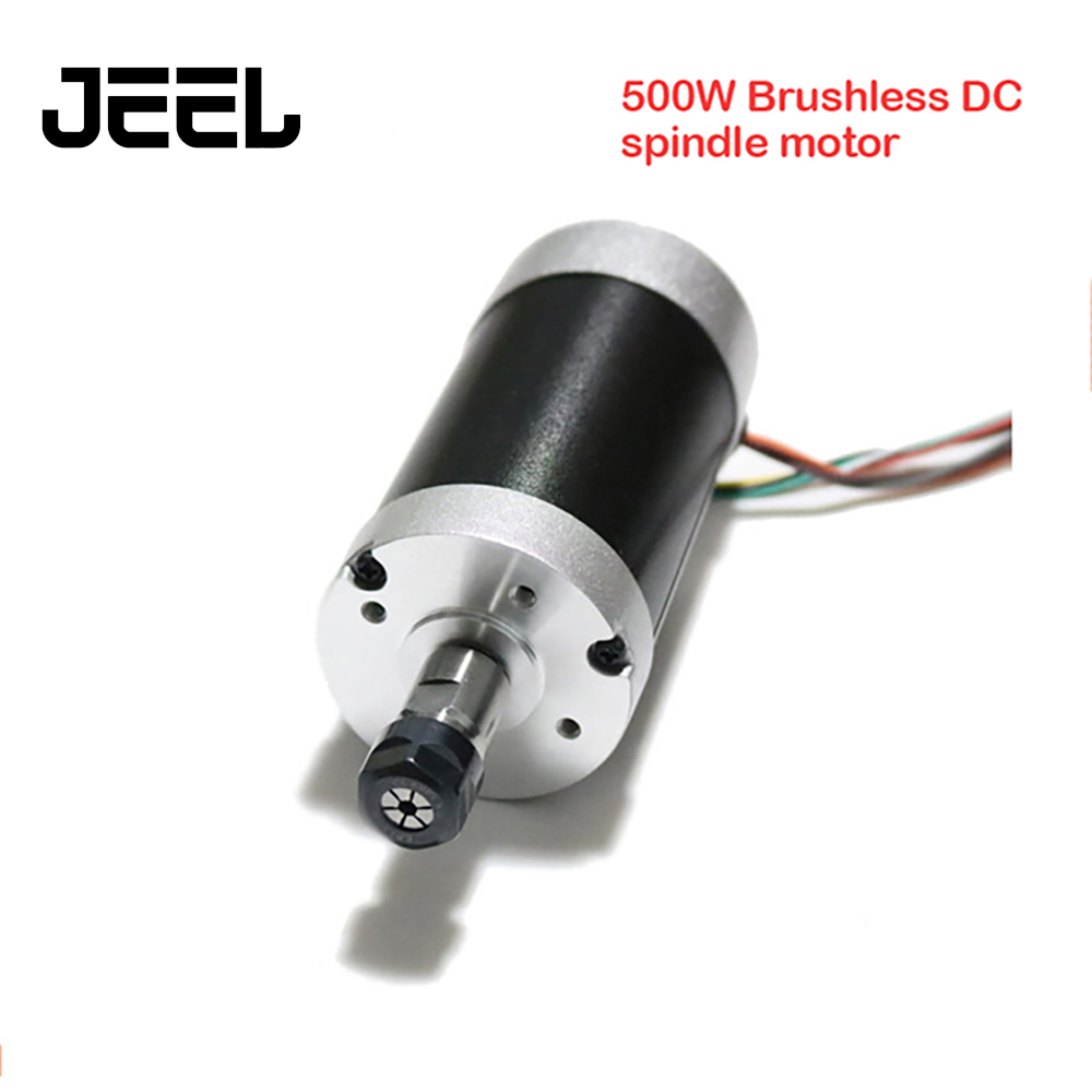 500W ER11-3.175mm 12000rpm Brushless DC Spindle Motor 24V 55mm Diameter CNC Carving Milling Air Cold Spindle Motor For Engraving