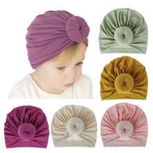 חדש אופנה פעוט תינוק ילד ילדה טורבן קשת קשר ילד ראש לעטוף כותנה סרוג כפת כובע חם כובע אביזרים