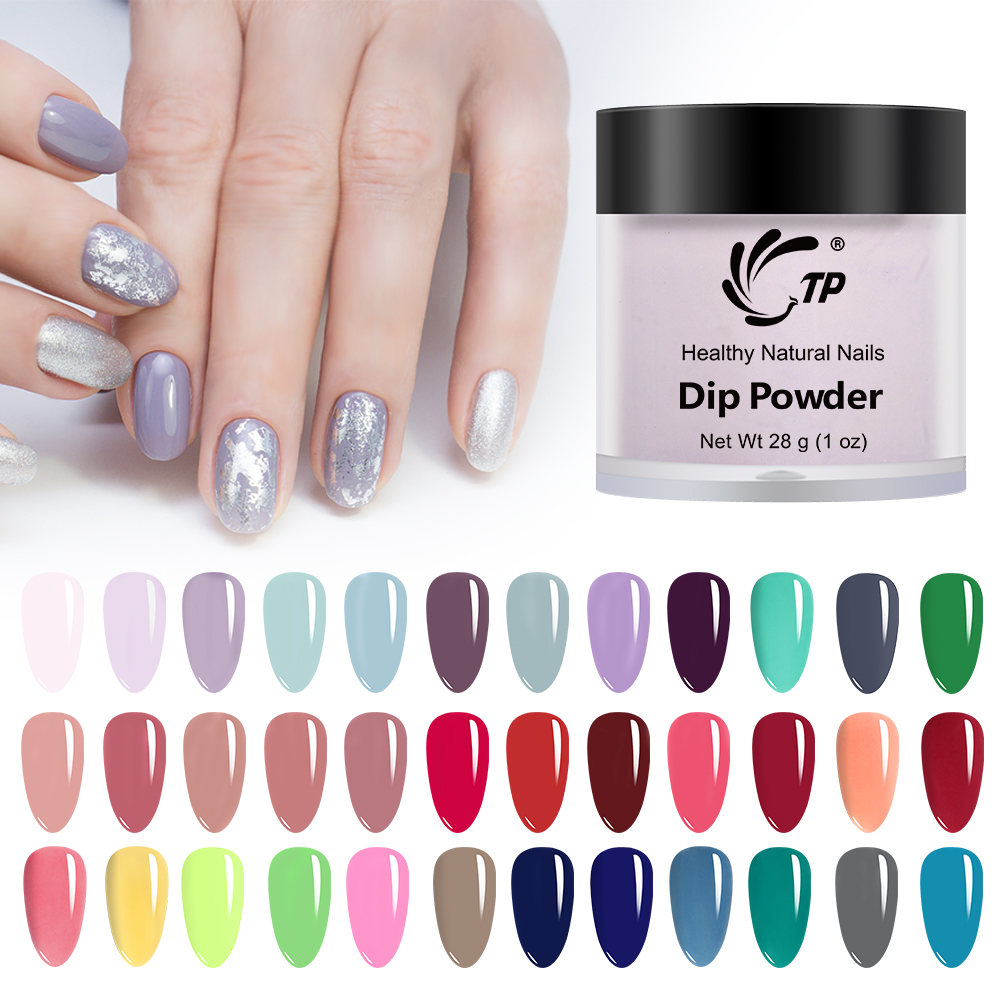 TP 28g Nail Dipping Powder Long-Lasting Glitters For Nail art Salon Acrylic Without-Lamp Natural Dry Dip Powder System Manicures