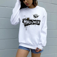 Women's sweatshirt 2019 autumn winter halloween hoodie funny letters print Graphic hoodies clothes white pullover streetwear halloween plus size drop shoulder graphic pullover hoodie