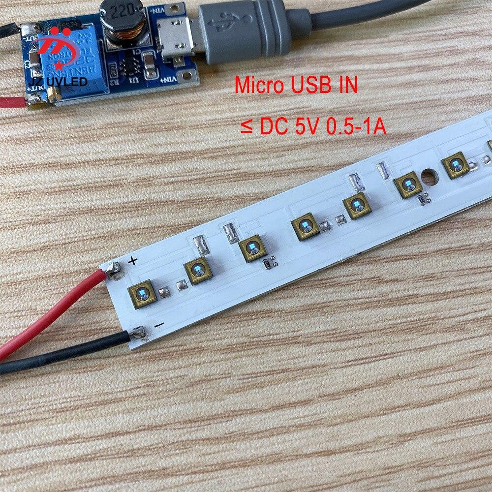 275nm 21 Uds. UVC LED DC 24V para DIY UVC desinfección lámparas con placa de alimentación USB profundo UVC LED luz violeta esterilización Cuentas de lámpara LED UVC de 1W y 265nm para equipo médico para desinfección UV de 275nm SMD4545, Chip ultravioleta profundo LG de 5-9V, 150mA de Corea