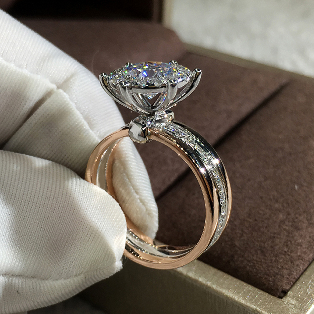Huitan Classic 4 Claws Design Bridal Engagement Wedding Rings AAA Dazzling Cubic Zirconia Hot Sale Timeless Style Female Jewelry