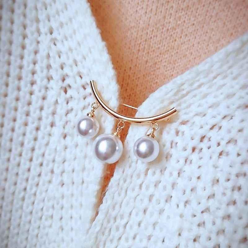 Bezpieczeństwo przypinane broszki sweter biżuteria modny damski amulet trzy perły bluzka koszula kołnierz szpilka do krawata szalik ubrania dekory nowość