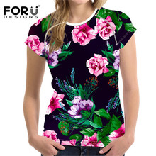 FORUDESIGNS Colorful 3D Floral T shirt Women Flower Elastic Slim Fit Basic Tee Tops Girls Bodybuilding Tshirt Female Clothes New