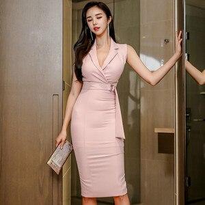 2020 verano sin mangas de muescas Rosa OL de tela de alta cintura ceñido al cuerpo lápiz rodilla-longitud Sexy vestidos de oficina