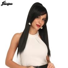 """Ebingoo 1b parrucca lunga diritta coda di cavallo Clip di capelli con frangia laterale parrucca in fibra sintetica nera morbida resistente al calore capelli 22"""""""