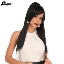 Длинный прямой парик ebingoo 1b для конского хвоста заколка