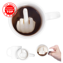 Creative Design White Middle Finger mug Novelty Style Mixing Coffee Milk Cup Funny Ceramic Mug 300ml Capacity Water Cup cheap To Catch Fish Porcelain Coffee Mugs With None Handgrip Eco-Friendly