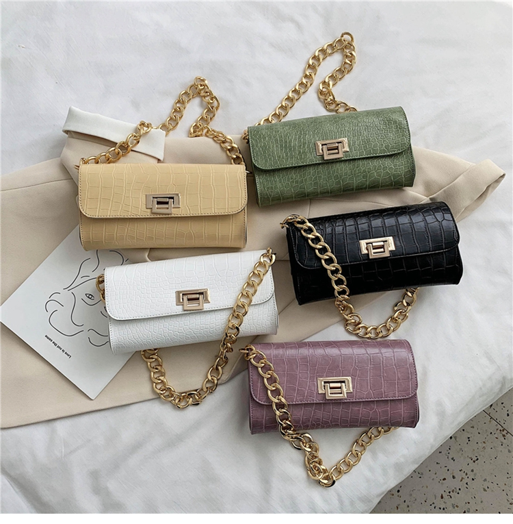 Crocodile Pattern Vintage Soild Color Small Square Bag For Women 2020 summer Handbag And Small Chain Bags Fashion Armpit Bag (21)