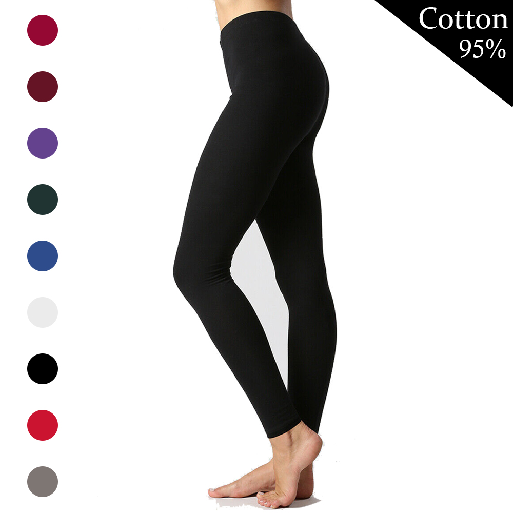 Leggings Women Cotton Sexy Push Up Leggings Solid Color High Waist Leggins Plus Size Ladies Full Ankle Length Stretch Jeggings