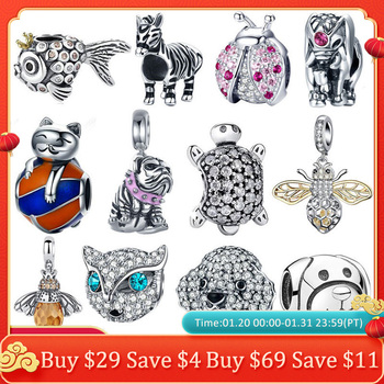 925 prata esterlina joaninha gato bulldog tartaruga elefante animal abelha tartaruga encantos contas ajuste pulseira diy contas jóias fazendo