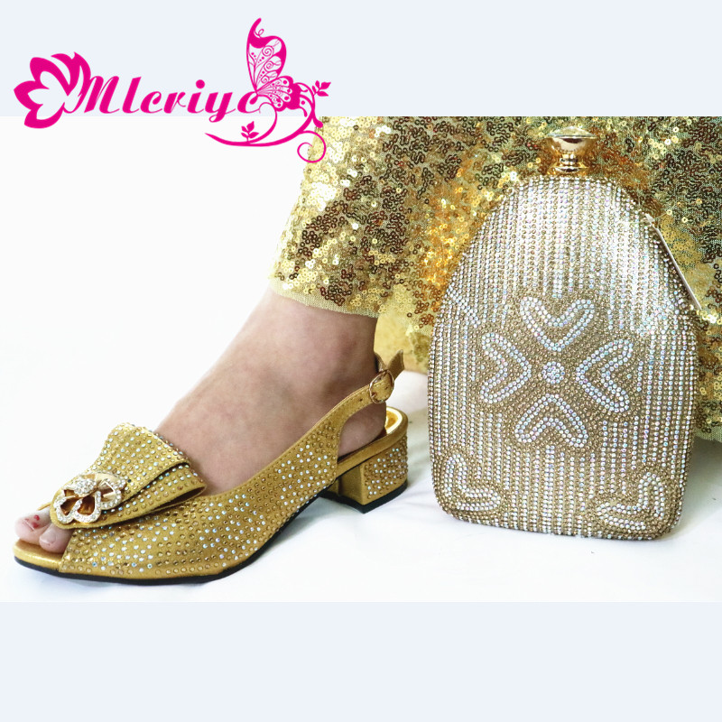 Elegant 2020 Special Design Women Shoes and Bag to Match African Style Italian Ladies Party Shoes Matching Bag in Gold Color