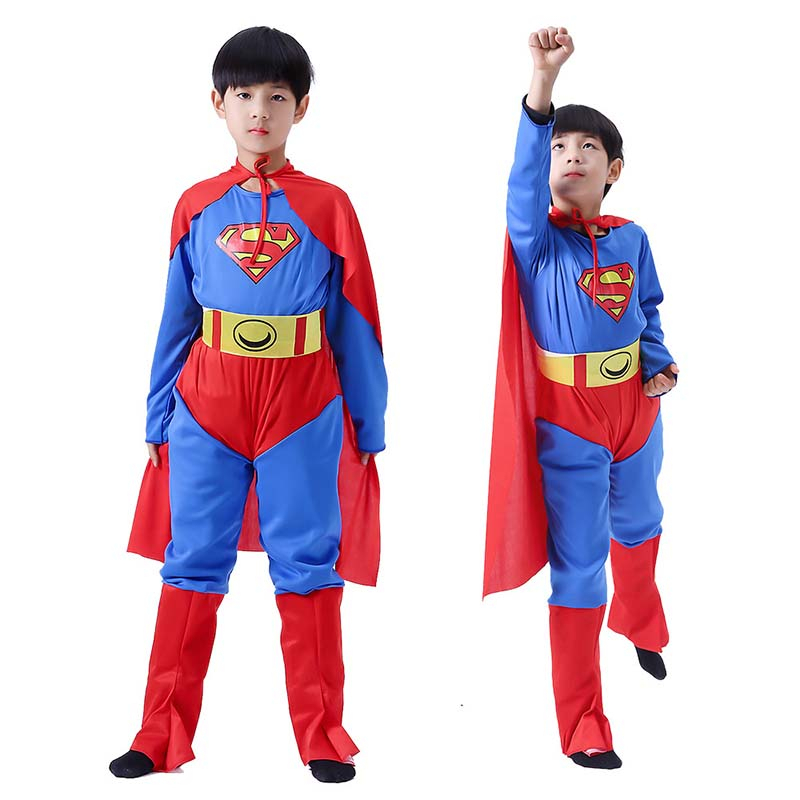 Halloween Cosplay Kid Boys Clothes Superman Transforms Jumpsuit Matching Cloak Shoe Cover Carnival Role Play Prom Gown Costume in Clothing Sets from Mother Kids