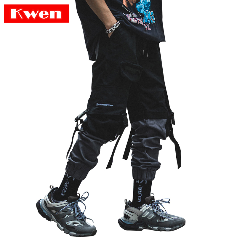 Harajuku Street Clothing  Pants New Fashion Streetwear Stitching Color Joggers Hip Hop Long Pants Men Elastic Waist Cargo Pants