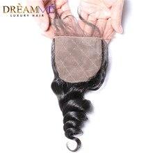 Onda solta brasileira seda base encerramento de seda fechamento superior com o cabelo do bebê nós ocultos fechamento do cabelo humano dreamme remy cabelo