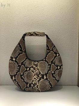 By H 2020 Unique Designer Moon Bag Snake Embossed Vintage Handbag Genuine Leather Chic Bolsa Female Totebag Day Clutch Lizzard