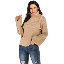 CHRLEISURE High-necked Collar Thicken sweaters woman High street Loose sweater Casual Autumn Winter Puff Sleeve