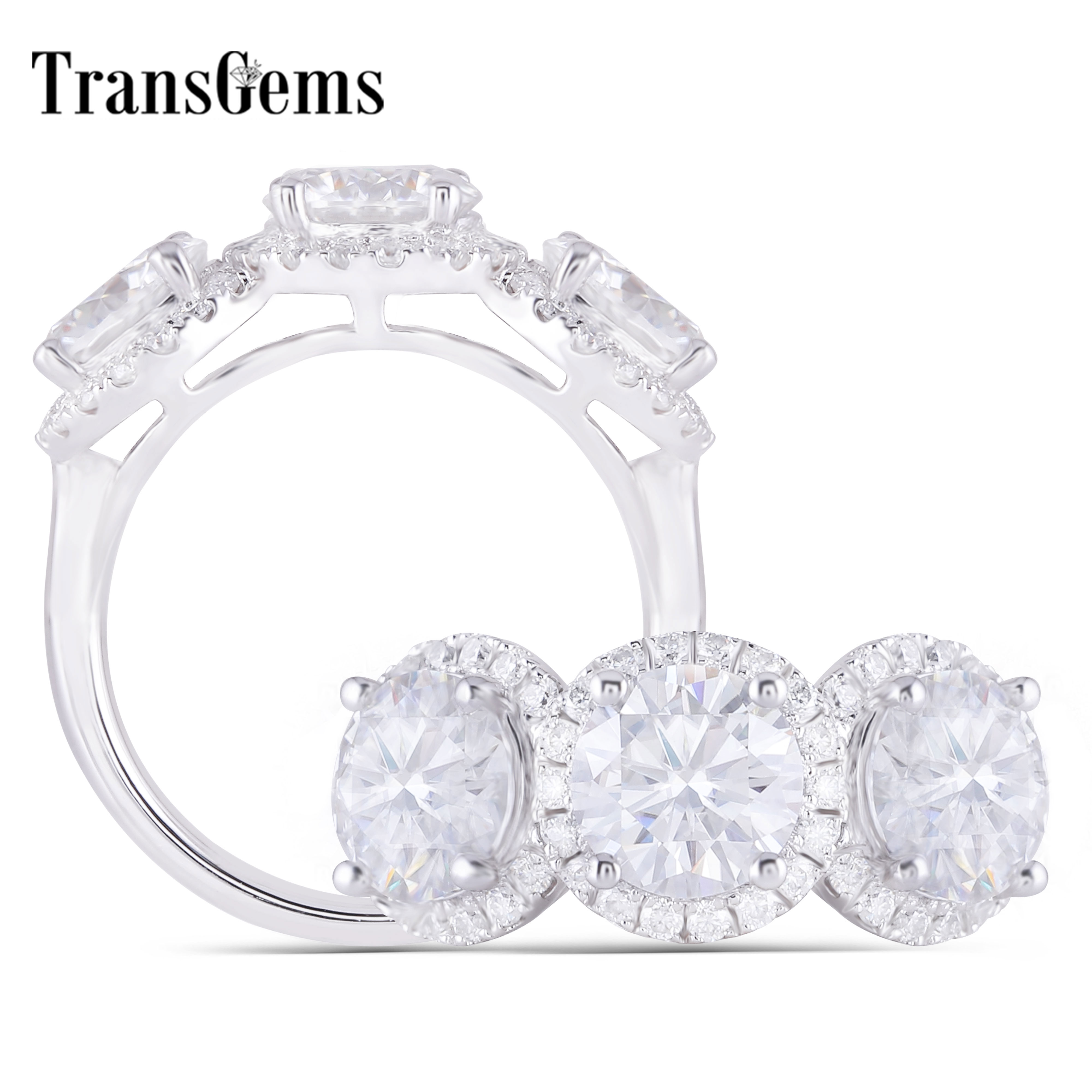 Transgems 14K 585 White Gold Main 3CTW 6.5mm*3pcs F Color Halo Moissanite 3 Stone Engagement Rings for Women