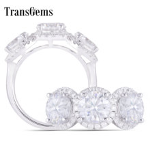 Transgems 14K 585 White Gold Main 3CTW 6.5mm*3pcs F Color Halo Moissanite 3 Stone Engagement Rings for Women