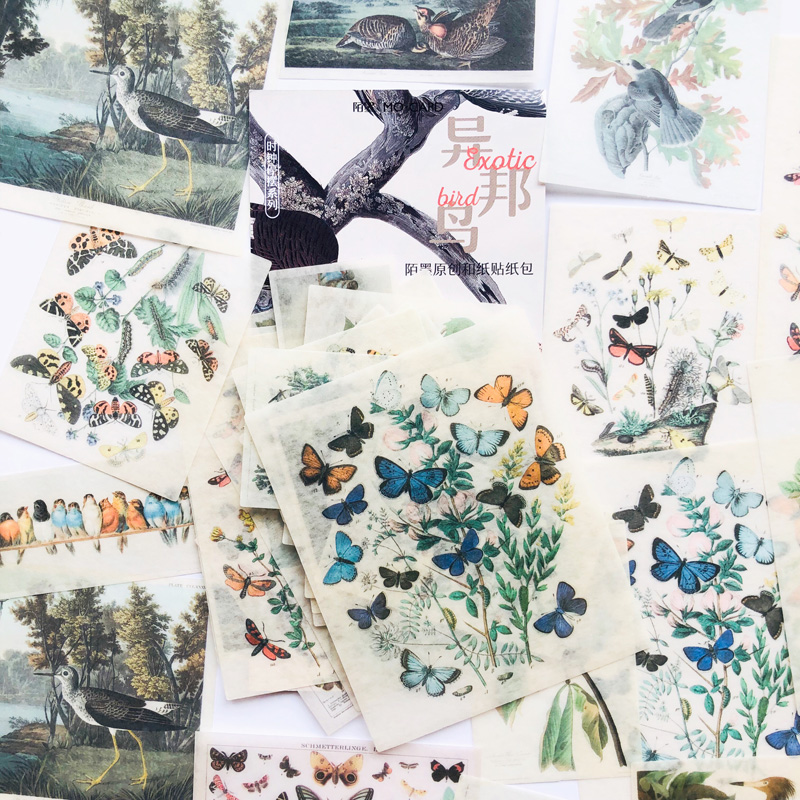 60 Sheets /Bag Big Size Vintage Butterfly Birds Paper Decorative Stickers Diary Album Hand Account Decor