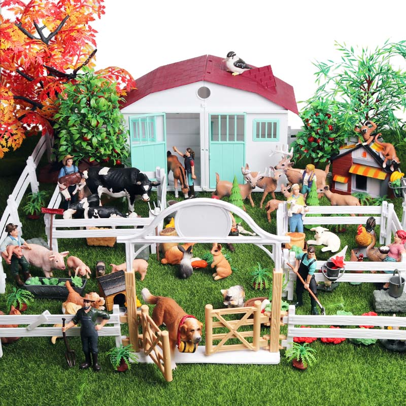Oenux New Farm House Model Action Figures Farmer Cow Hen Pig Poultry Animals Set Figurine Miniature Cute Educational Kids Toy