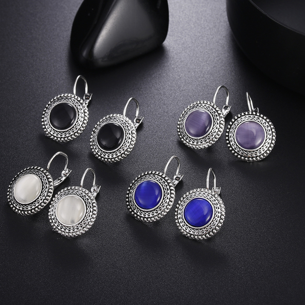 Retro Geometric Earing Yellow Opal Stone Dangle Earring Classic Antique Silver Earrings For Women Oorbellen Pendientes