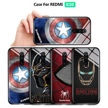 For Xiaomi Phone Redmi 8 8A Case Marvel Avengers Superhero Captain America Panther Luxury Tempered Glass Back Casing Cover(China)