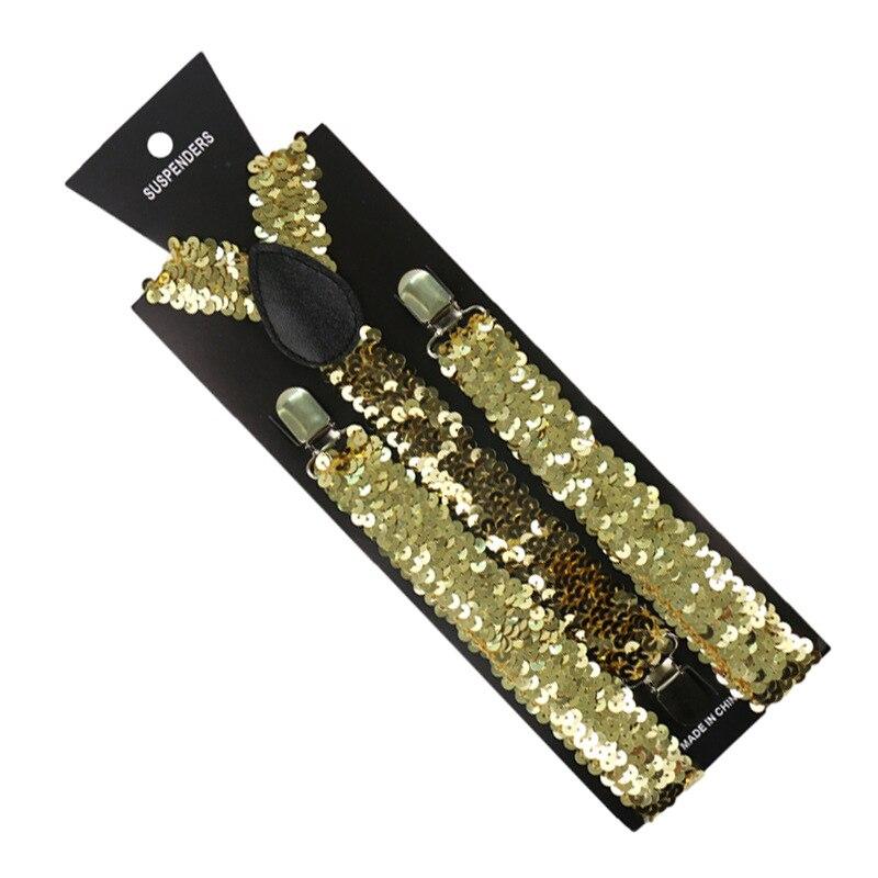 Fashion Elastic Sequin Suspenders Women Men Black Gold Sliver Metallic Shinny Suspenders For Party