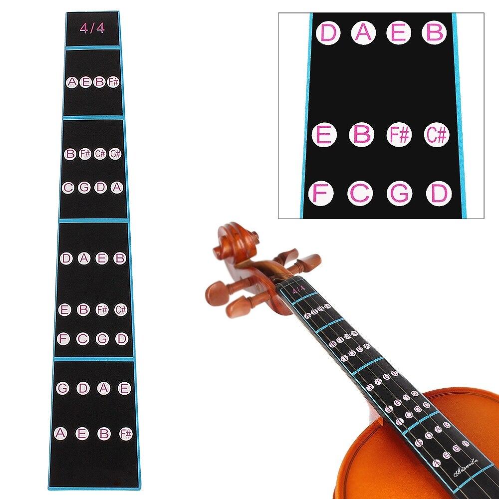 4/4 Black  Professional Violin Fingerboard Sticker Fretboard Note Label Fingering Chart Practice for Beginner Violin Parts