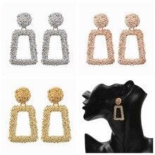 3 Colors Vintage Big Drop Earrings Metal Dangle For Women Geometric Wedding Party Jewelry Gold Statement Modern