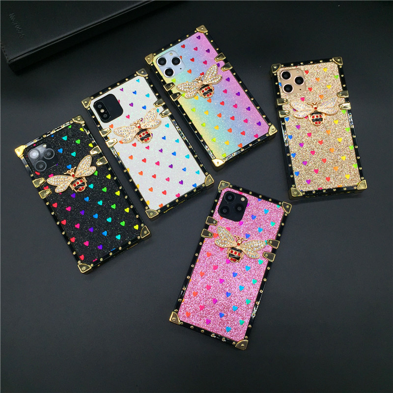 Luxury Square Case for iPhone 12 PRO X XS Max XR Fashion Heart Glitter Bee Cover Phone Cases for iphone 11 PRO MAX 7 8 Plus 6 6S