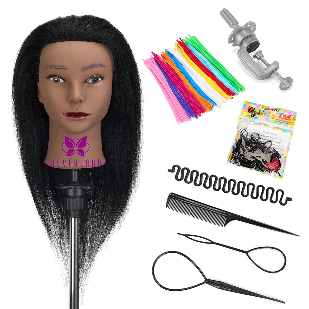 Afro Mannequin Heads with 100% Real Hair and Adjustable Stand for Braiding Hair Training Doll Head for Wig Tete A Coiffer