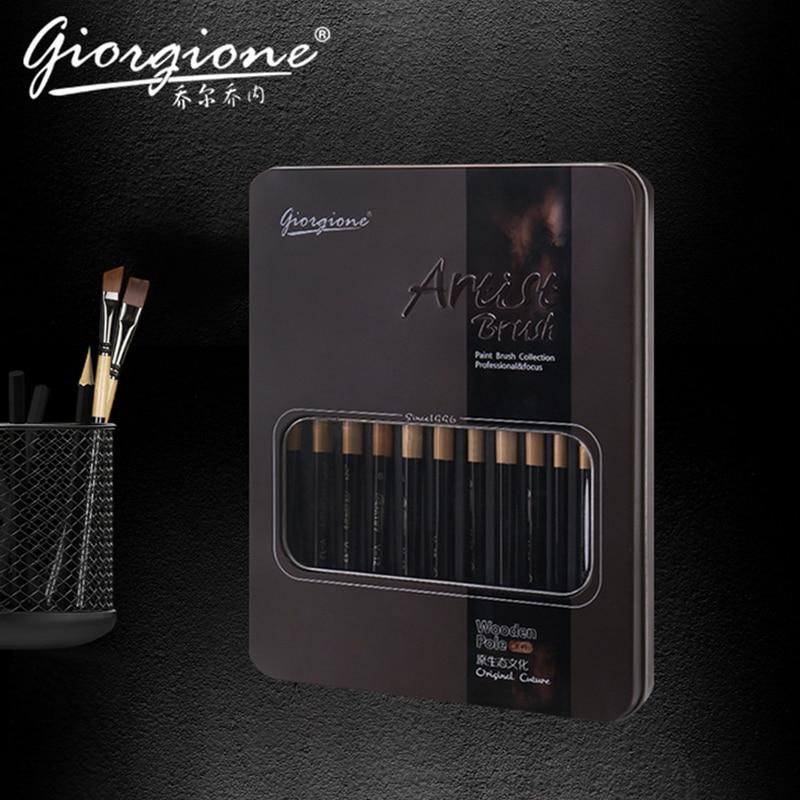 12pcs Professional Nylonhair Watercolor Painting Brush Pen Set With Portable Metal Case For Art Supplies Watercolor Paint Brush