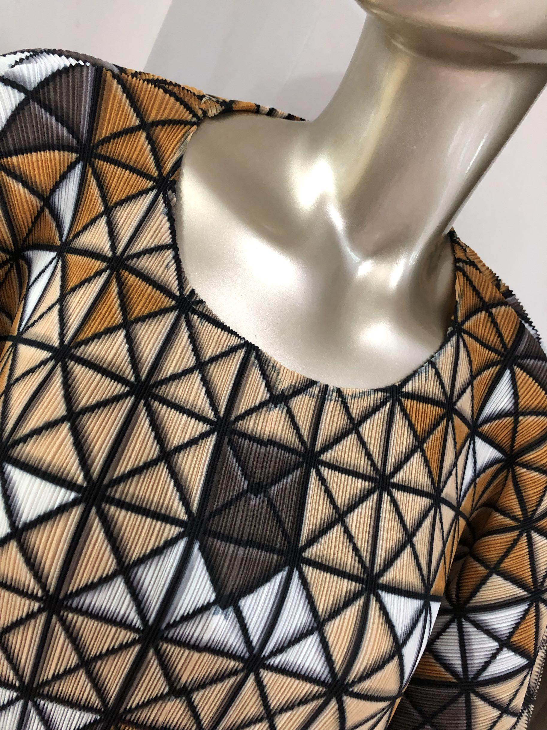 Impresión digital geométrica nueva moda MIYAKE pliegue plisado camiseta envío gratis - 3